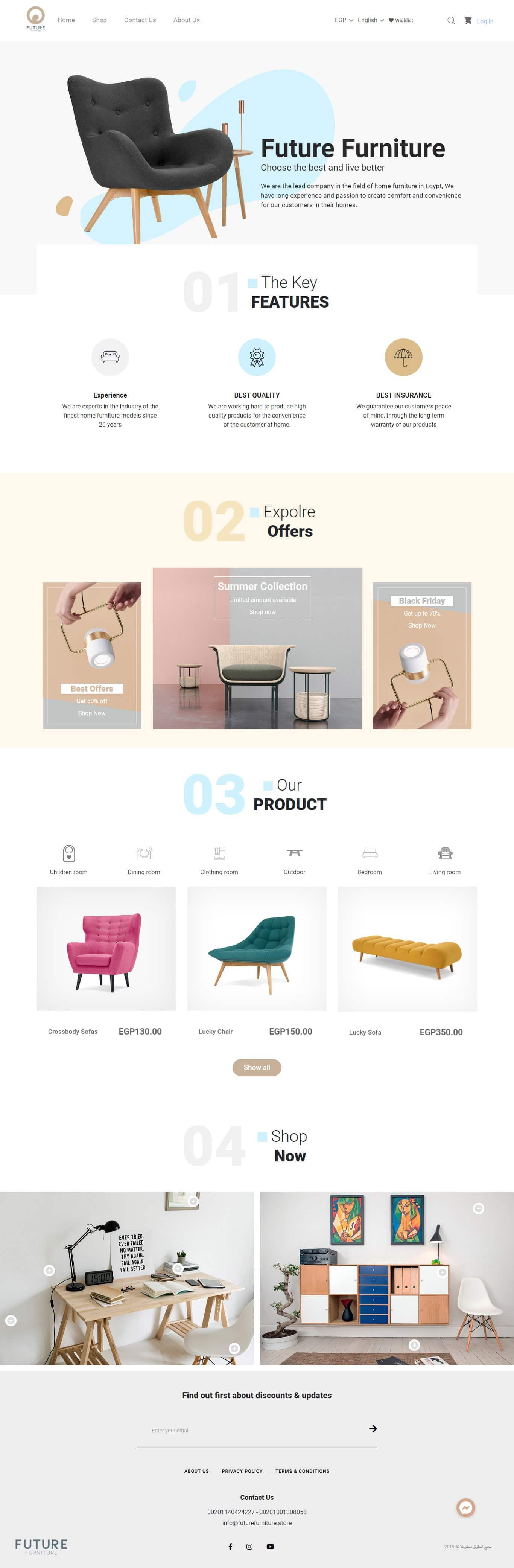 Future Furniture E-eCommerce website desktop optimized in Turnsole portfolio